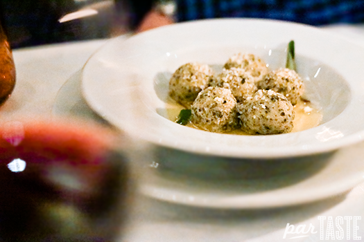 ricotta gnudi in butter and sage sauce