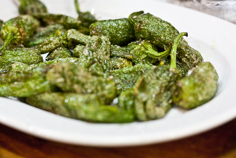 Pimientos de Padron, fried in high quality olive oil sprinkled with flaky salt